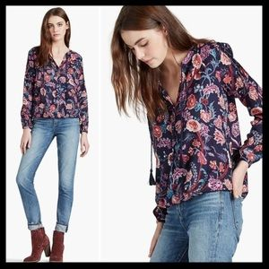 lucky brand // floral print peasant top blouse NWT